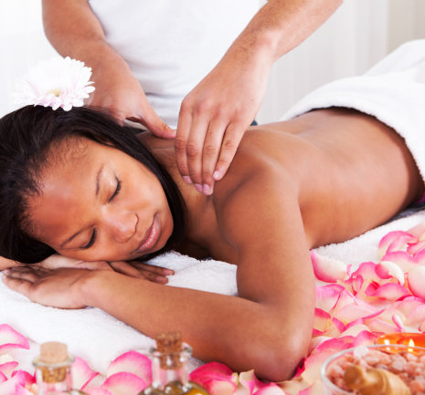 woman relaxing the feeling of massage