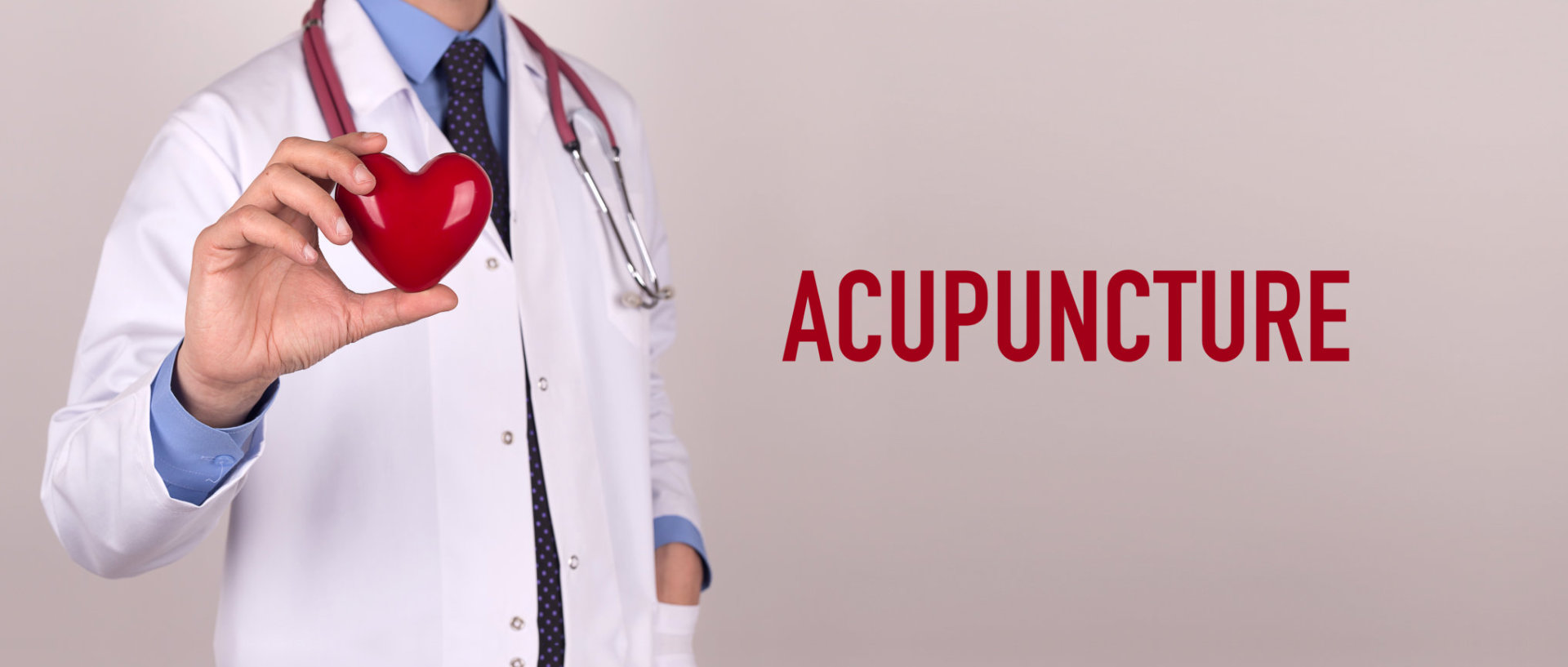 acupunture concept doctor holding a stuffed heart