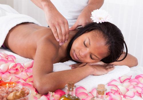 portrait of woman receiving massage in spa